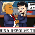 1-panel comic about U.S. and China Trade War