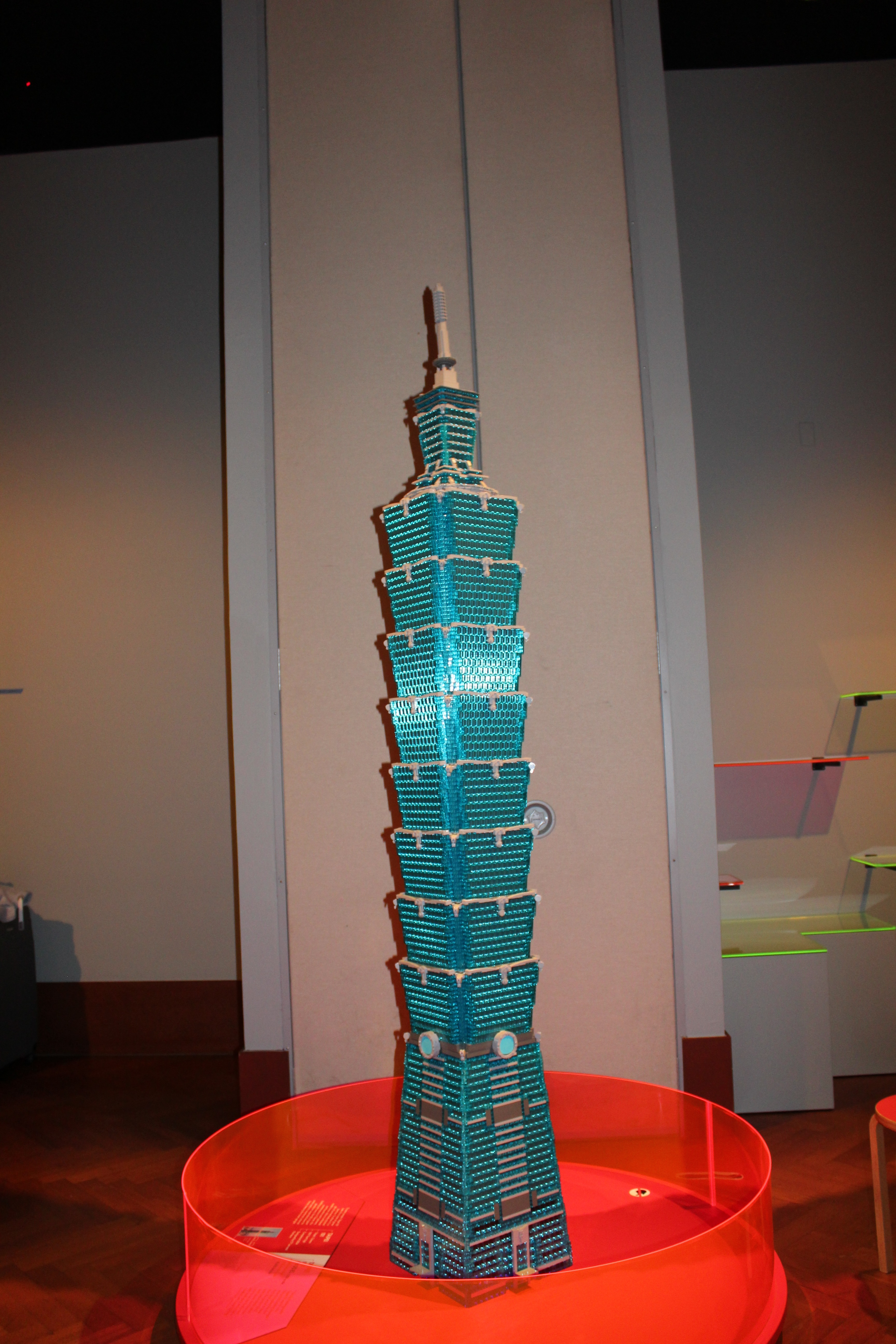 Photo shows a lego replica of the Taipei 101 skyscraper