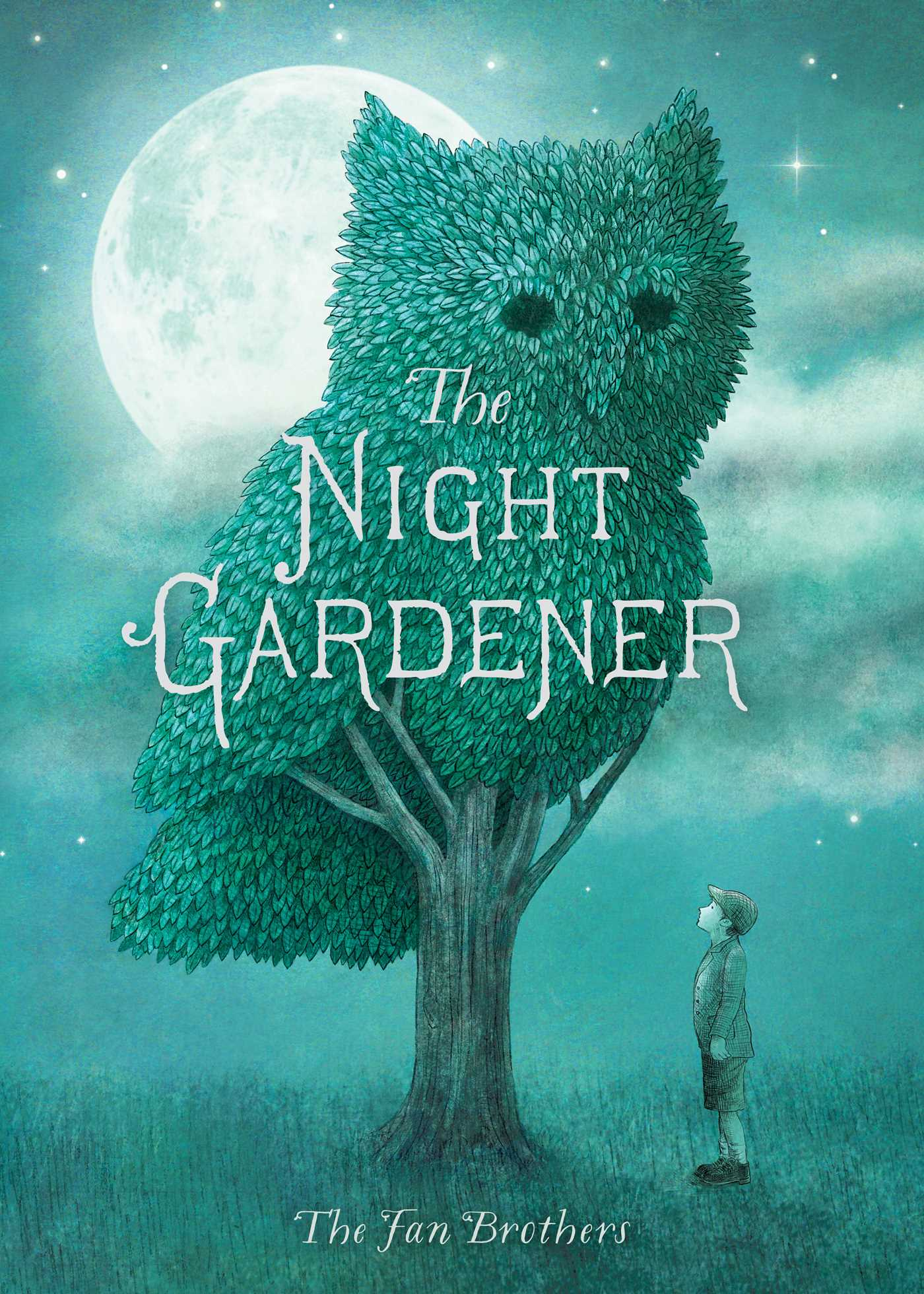 """The cover of the book, """"The Night Gardener"""" features a boy looking up at a tree who's canopy is shaped like an owl. It is cast in moonlight."""