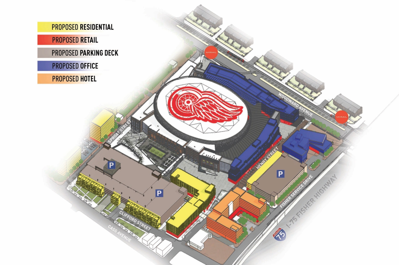 Graphic outlining Olympia Entertainment's conceptual master plan for District Detroit