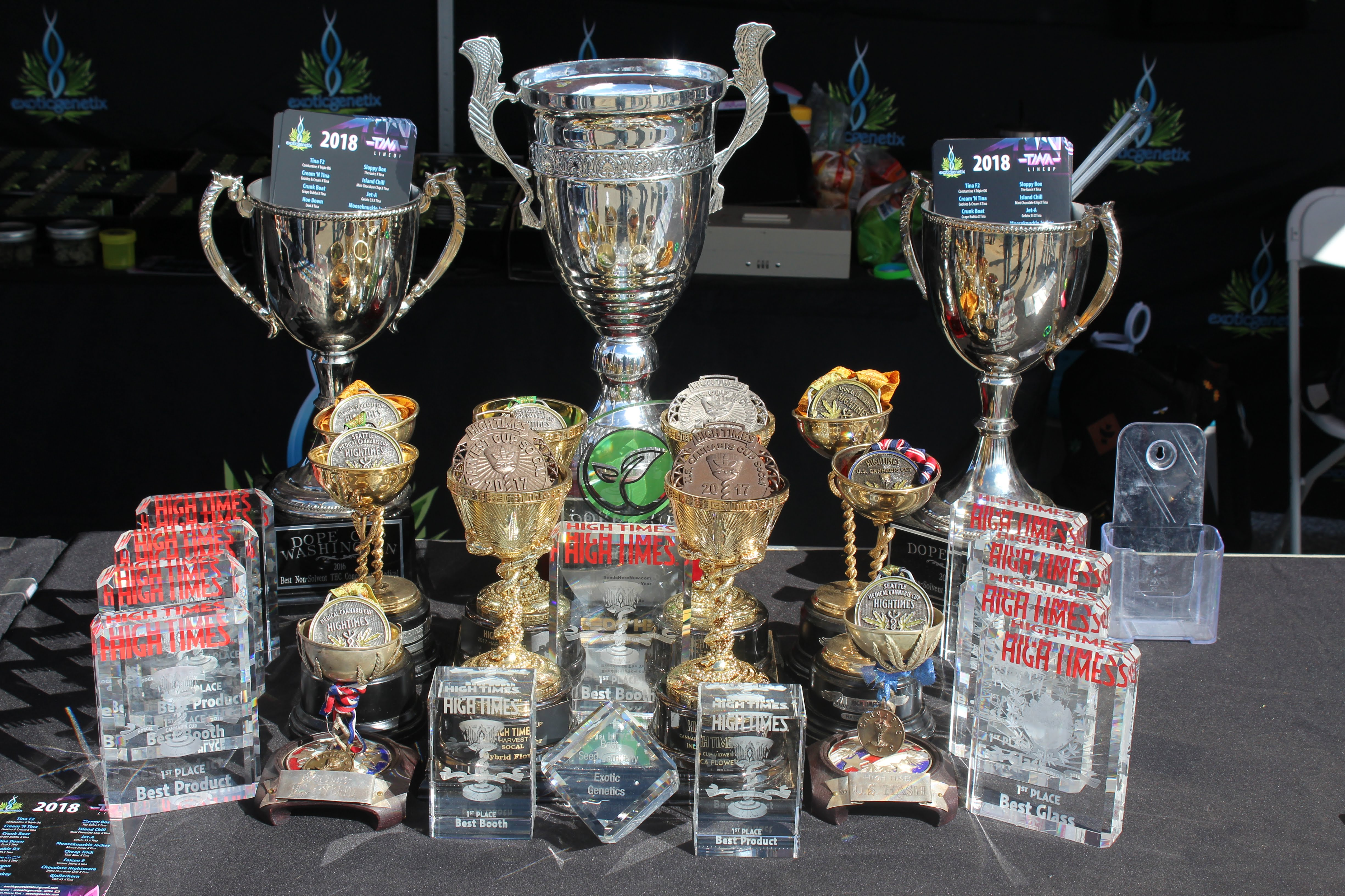 Photo of trophies given out at Midwest Cannabis Cup