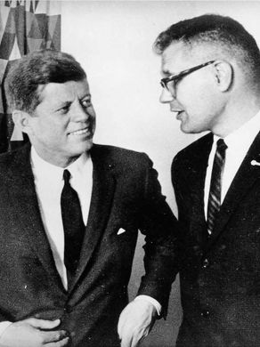 Undated photo of John Dingell with President John F. Kennedy