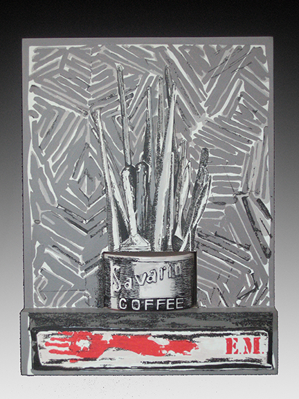 Metallic looking painting of paintbrushes in a coffee can with large gray brush strokes around them by Todd Johnson.