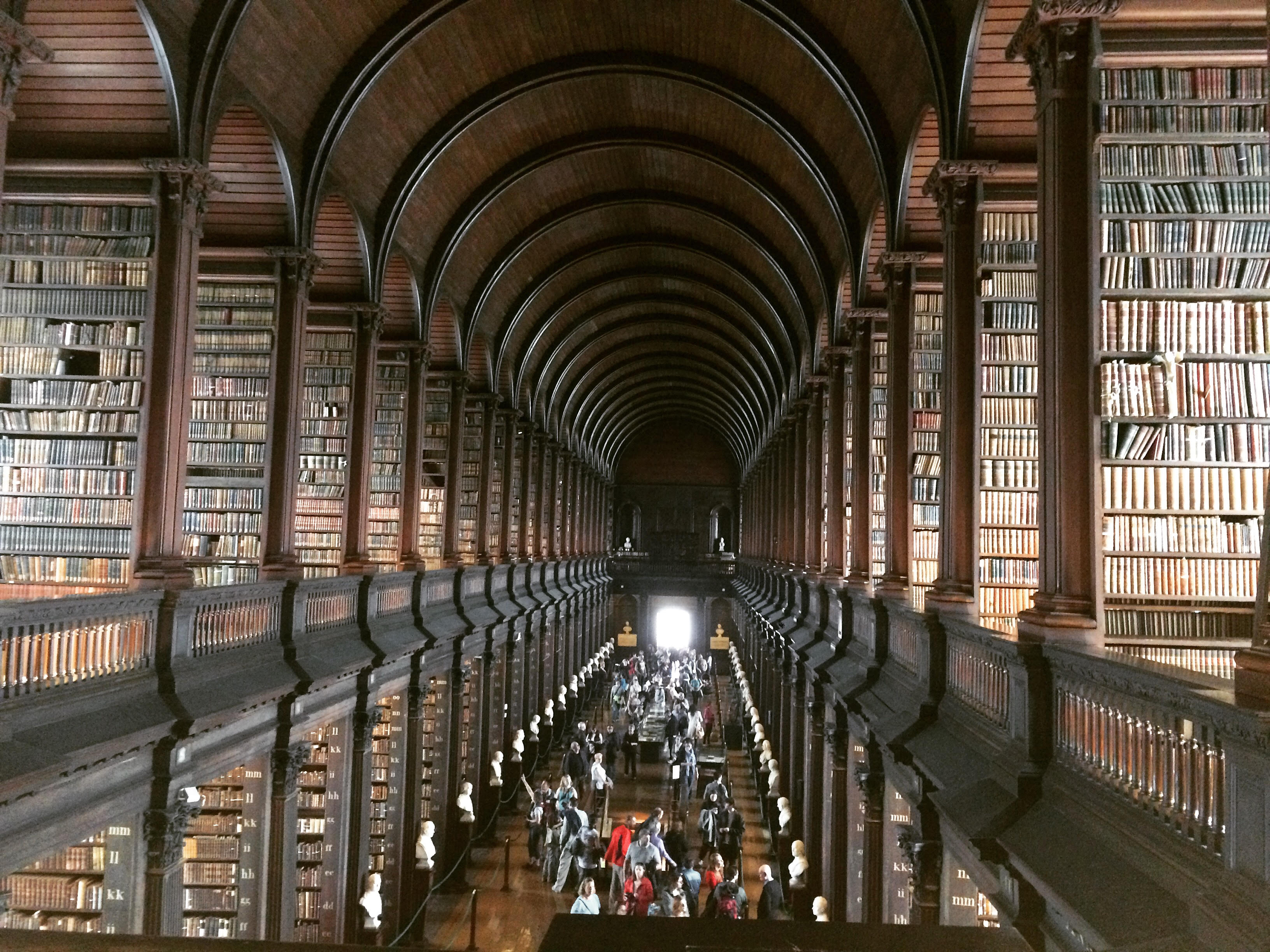Wide angle shot of interior of Old Library at Trinity College in Dublin, Ireland.