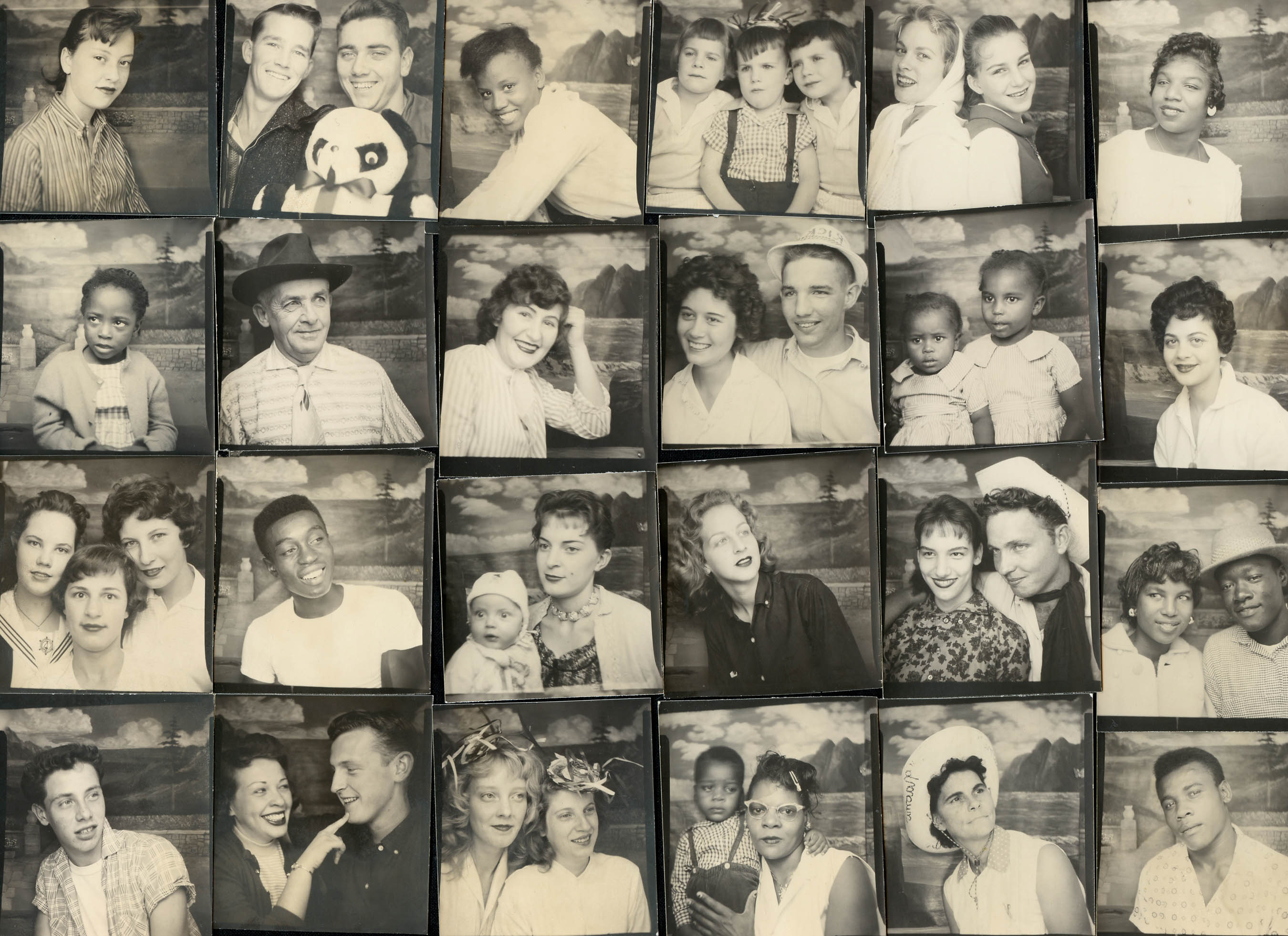 Group of photobooth portraits from traveling photo studio, around 1950-1960. Unknown photographer. Courtesy DIA.