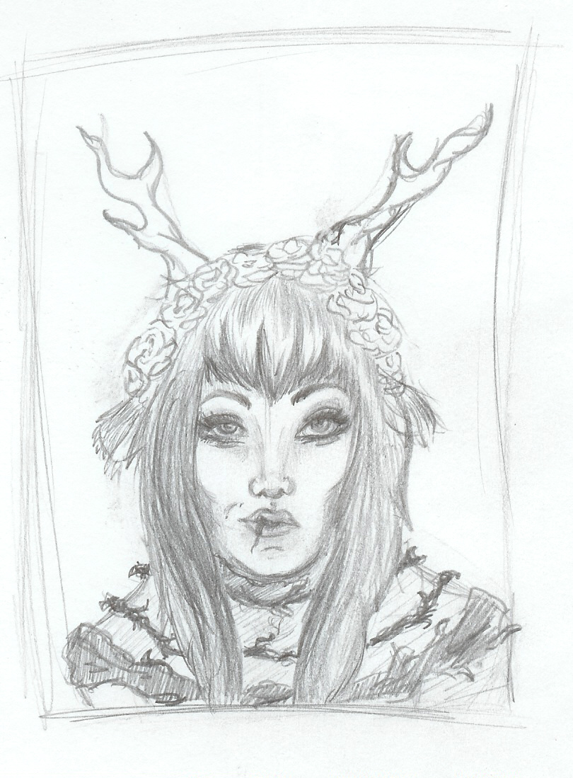 Sketch of girl extreme body modifications