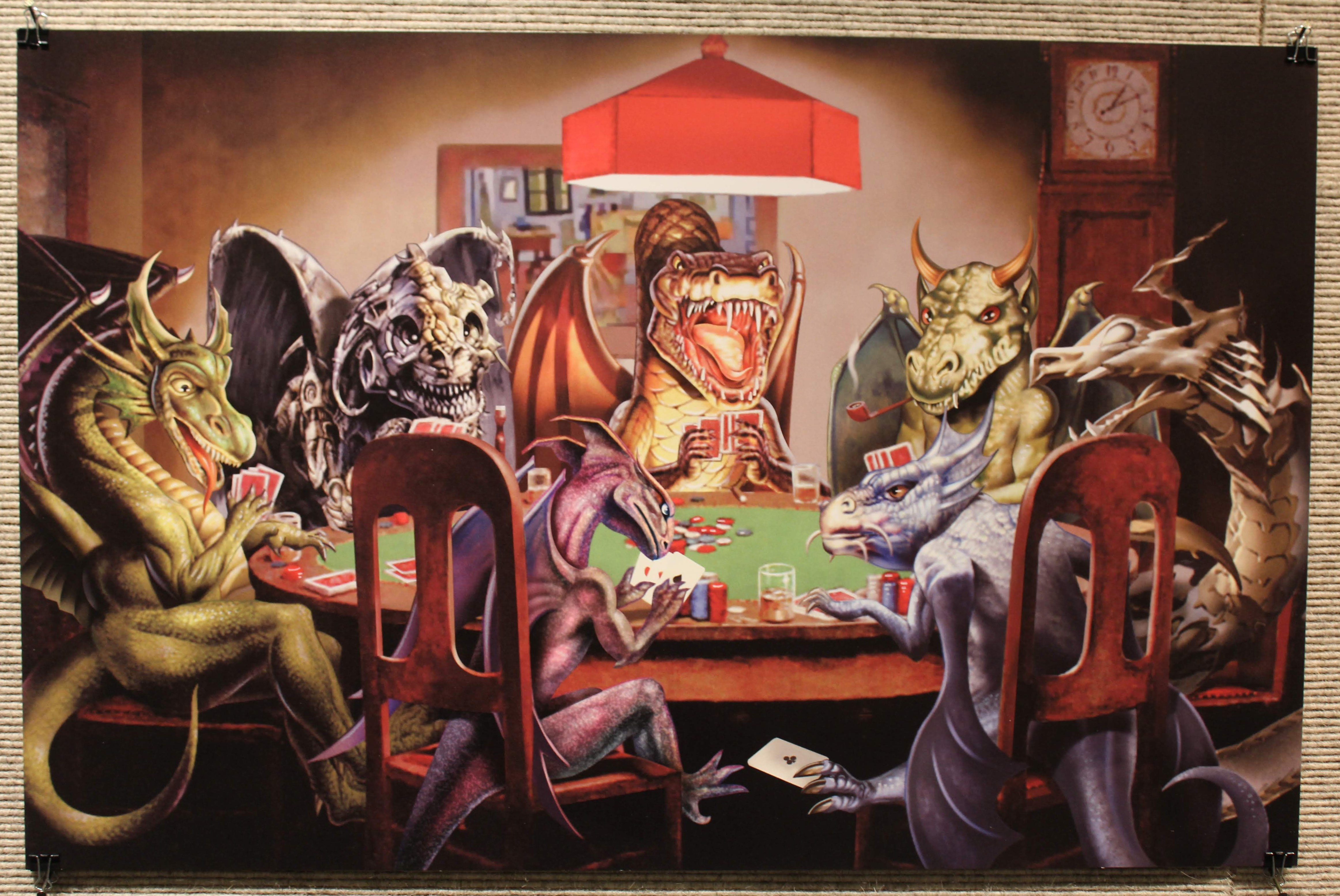 Image of dinosaurs playing poker