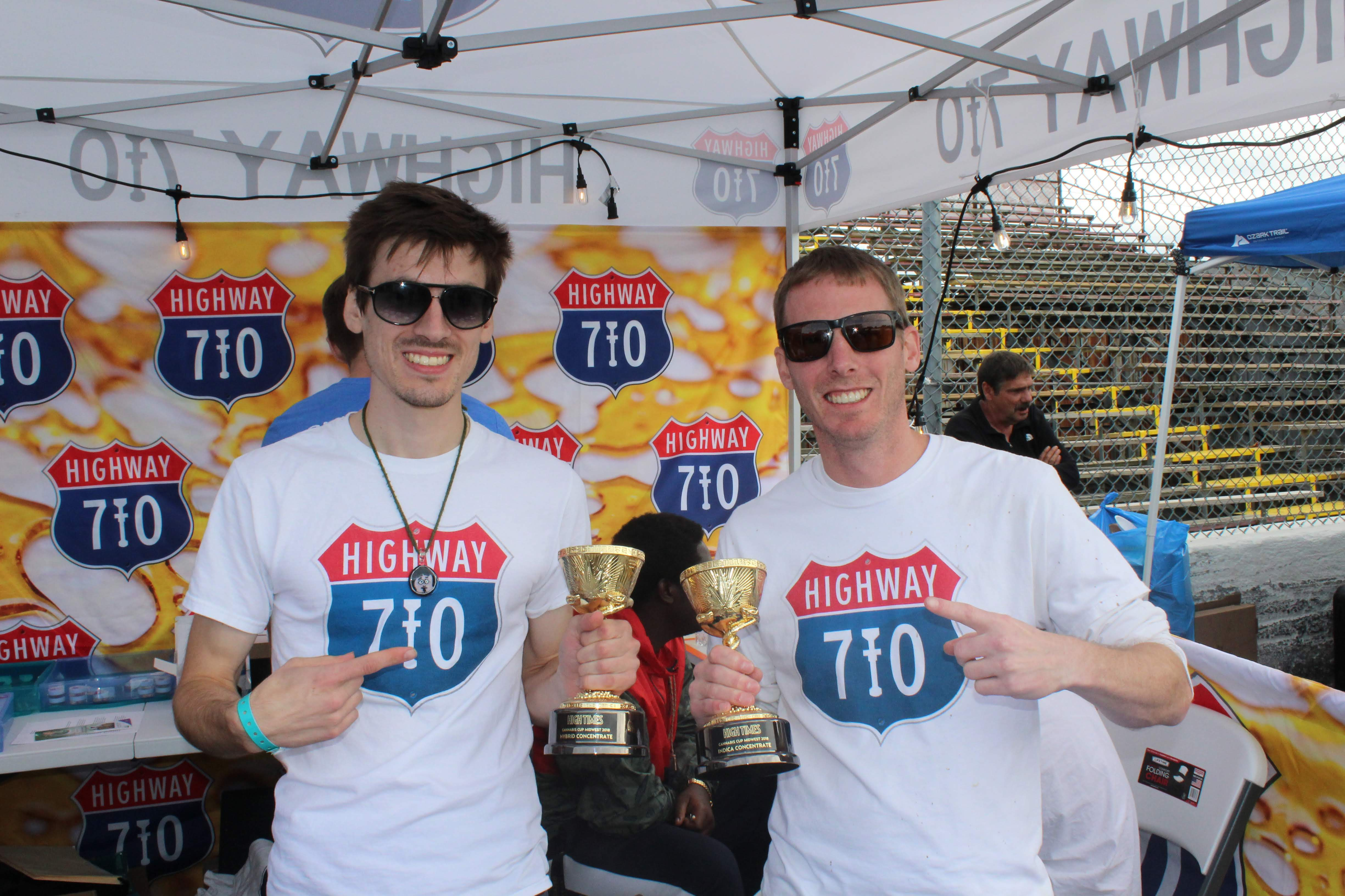"Photo of Cannabis Cup winners for ""best indica concentrate"" and ""hybrid concentrate"" 710 Highway"